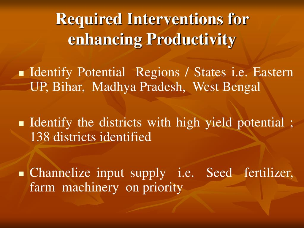 Required Interventions for enhancing Productivity