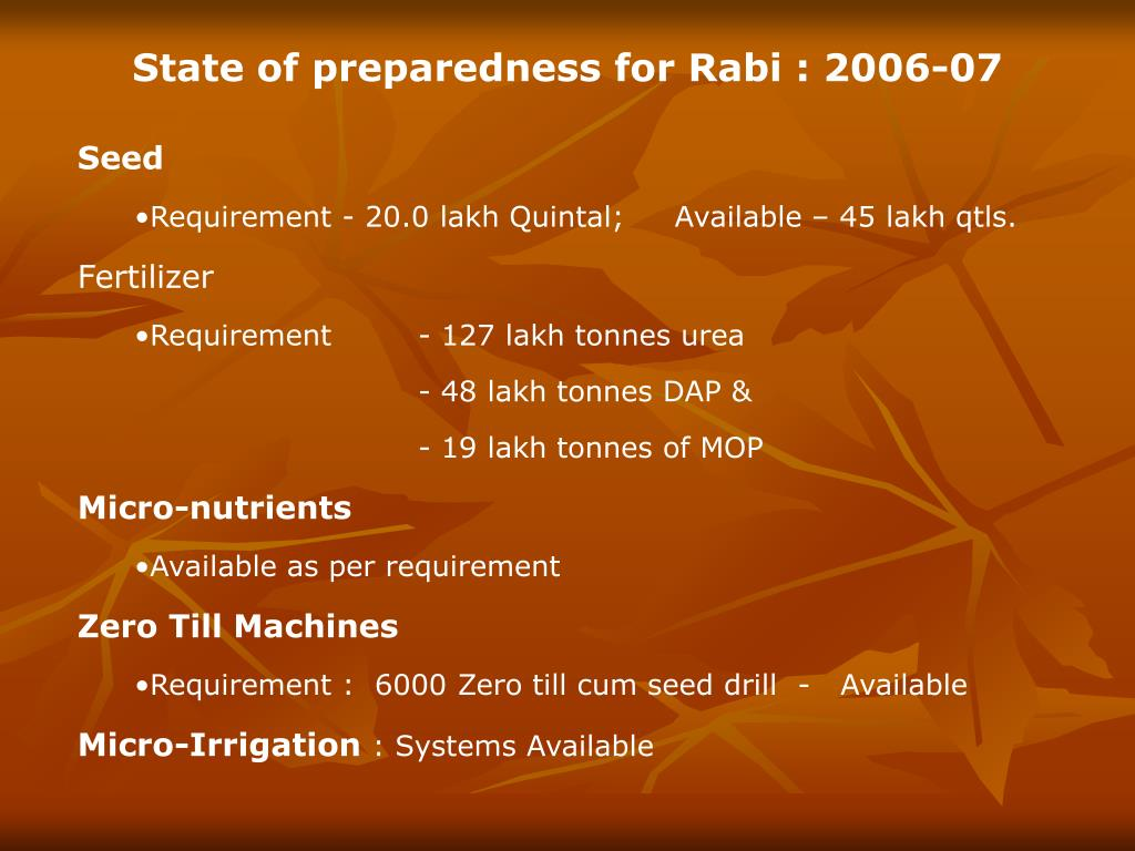 State of preparedness for Rabi : 2006-07