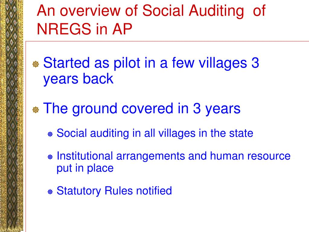 An overview of Social Auditing  of NREGS in AP