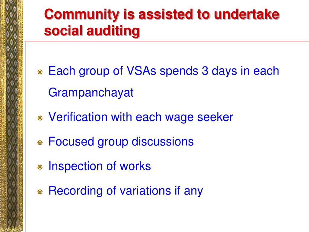 Community is assisted to undertake social auditing