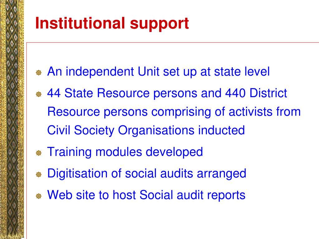 Institutional support