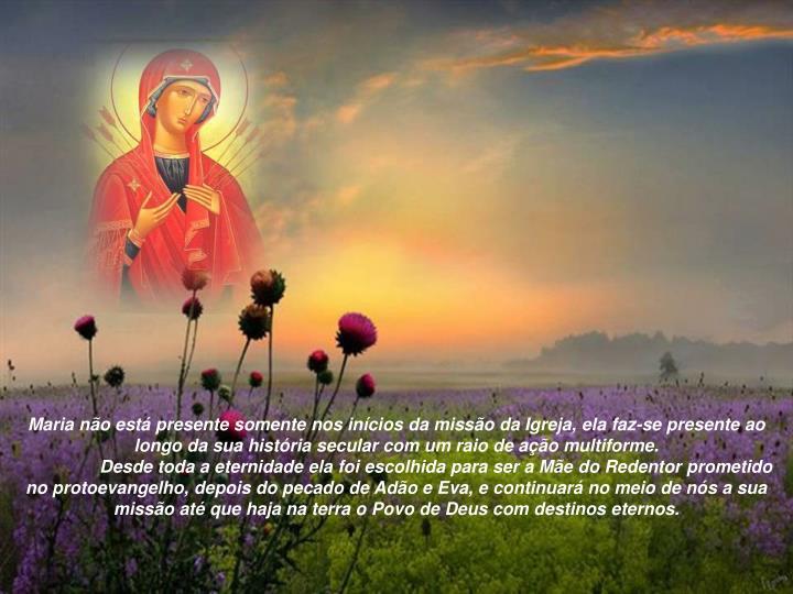 Maria no est presente somente nos incios da misso da Igreja, ela faz-se presente ao longo da sua histria secular com um raio de ao multiforme.