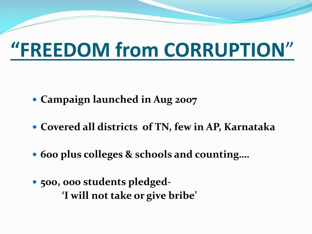 """""""FREEDOM from CORRUPTION"""