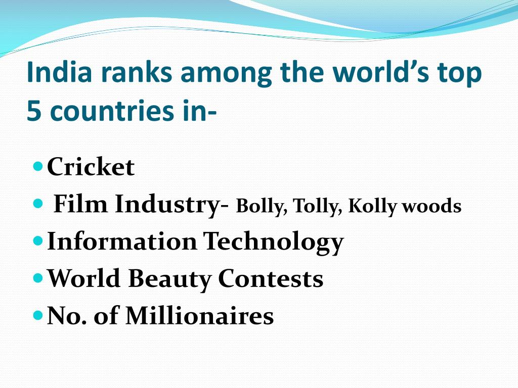 India ranks among the world's top 5 countries in-