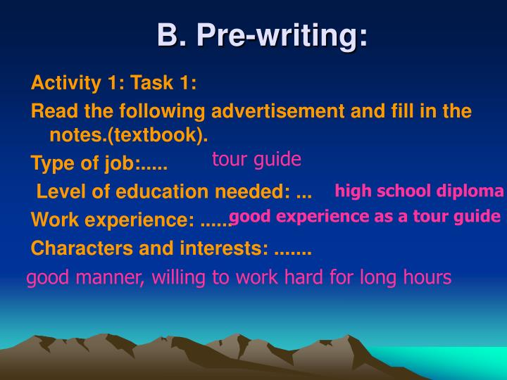 B. Pre-writing: