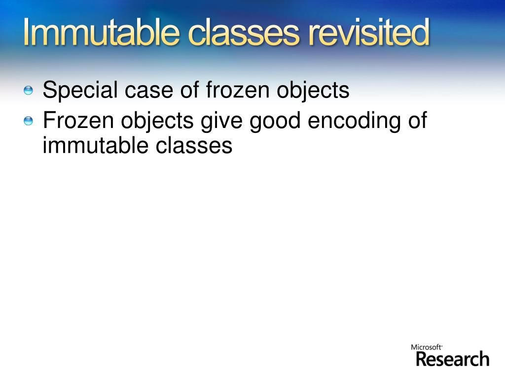 Immutable classes revisited