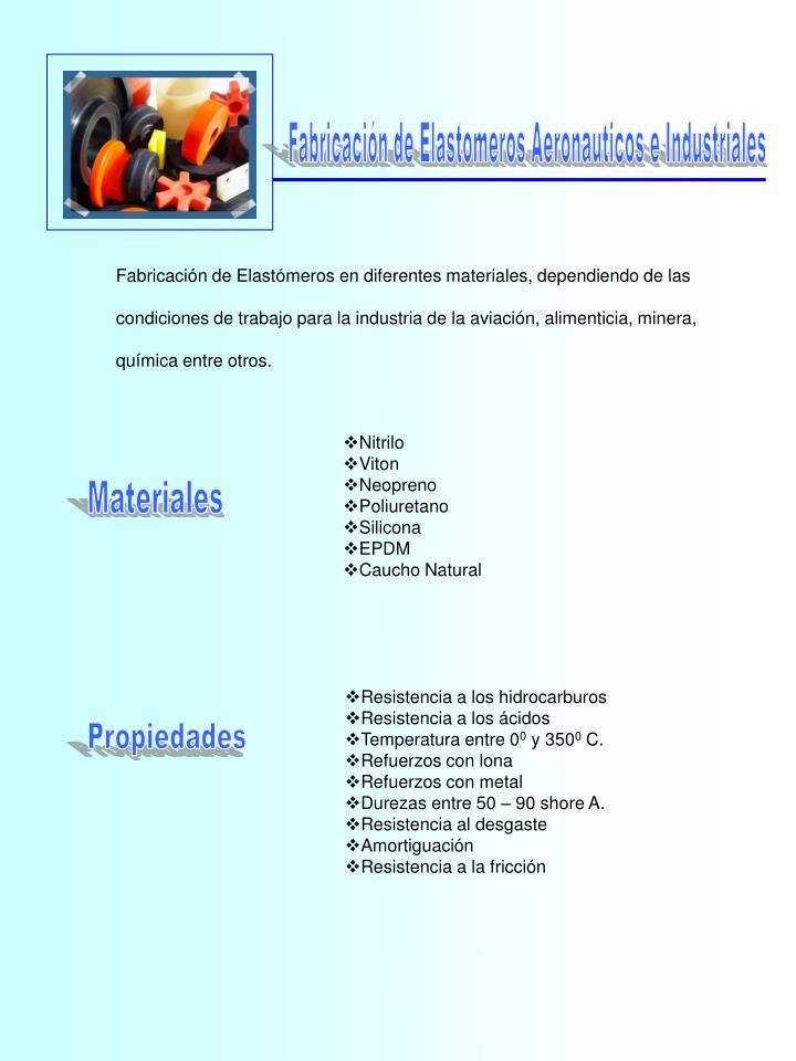 Fabricación de Elastomeros Aeronauticos e Industriales