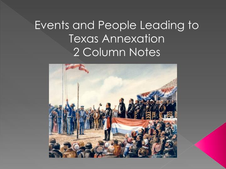 Events and People Leading to Texas Annexation