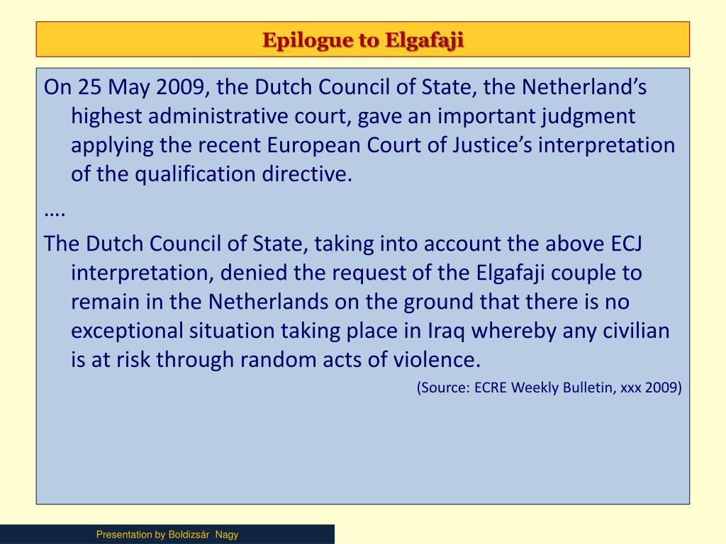 Epilogue to Elgafaji