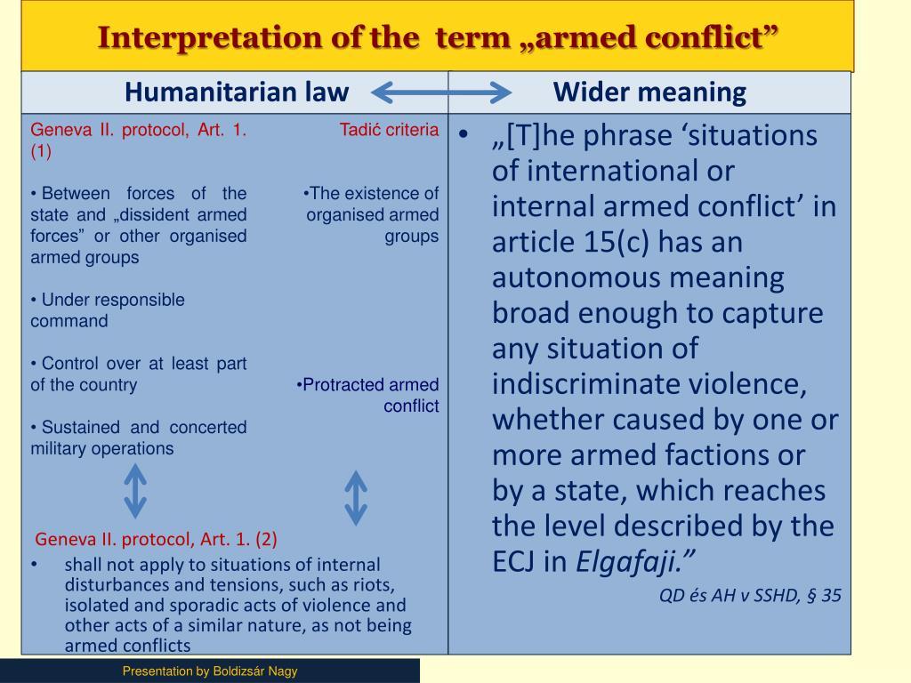"Interpretation of the  term ""armed conflict"""