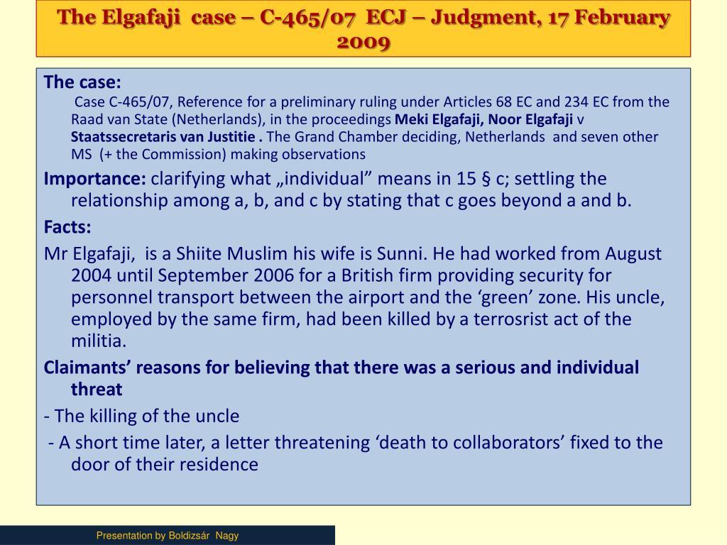 The Elgafaji  case – C-465/07  ECJ – Judgment, 17 February 2009