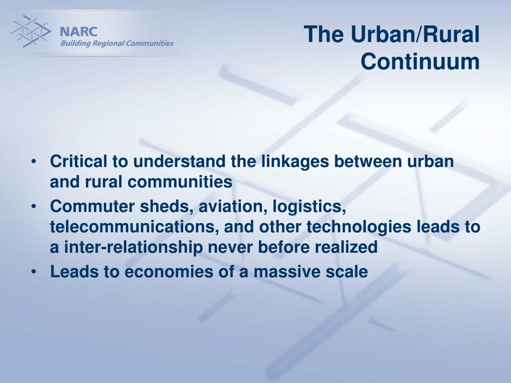 The Urban/Rural Continuum