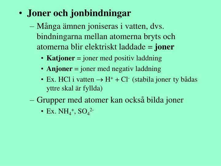 Joner och jonbindningar