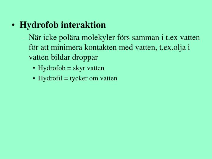 Hydrofob interaktion