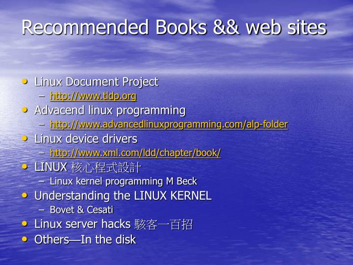 Recommended Books && web sites