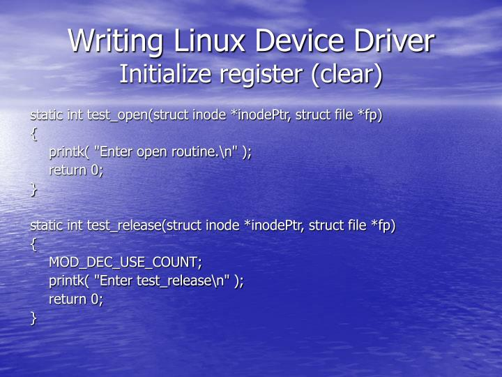 Writing Linux Device Driver