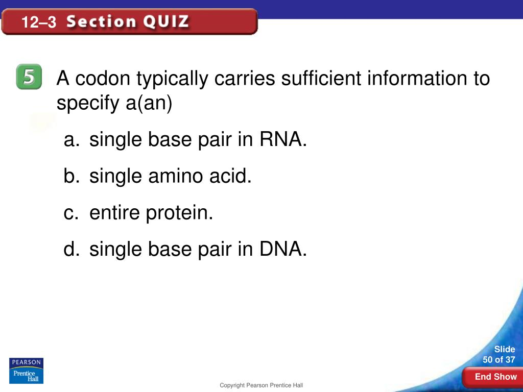 A codon typically carries sufficient information to specify a(an)