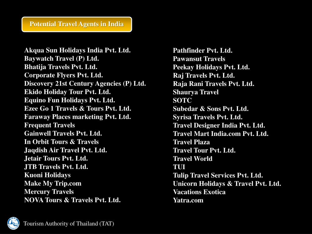 Potential Travel Agents in India