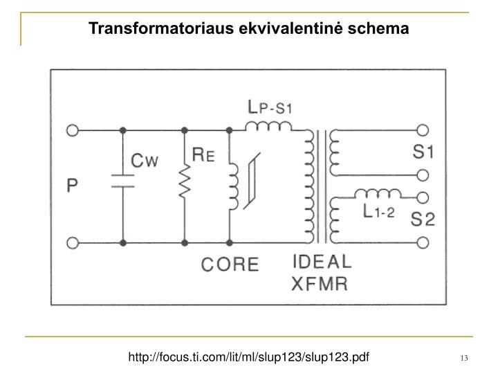 Transformatoriaus ekvivalentinė schema