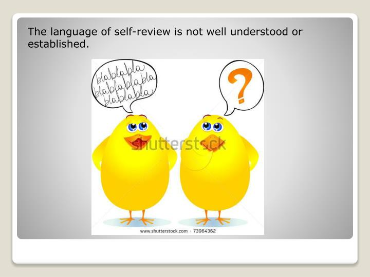 The language of self-review is not well understood or established.