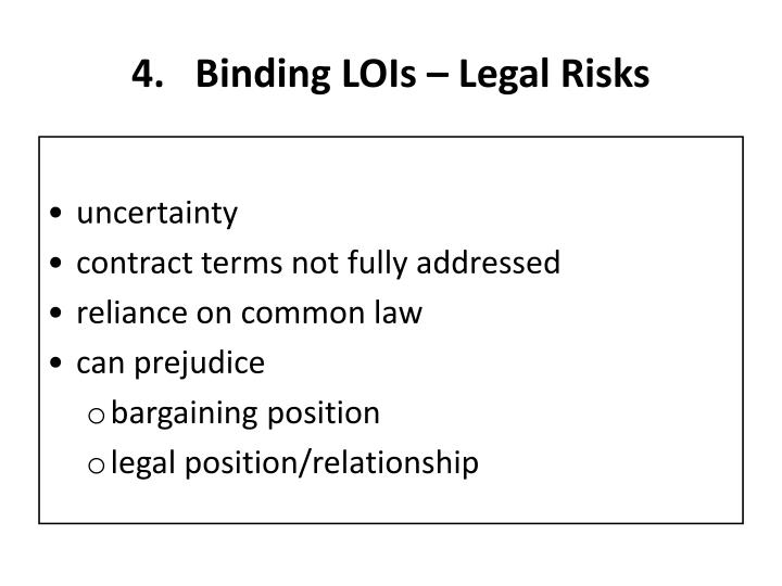 Binding LOIs – Legal Risks