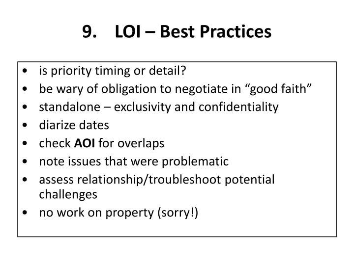 LOI – Best Practices