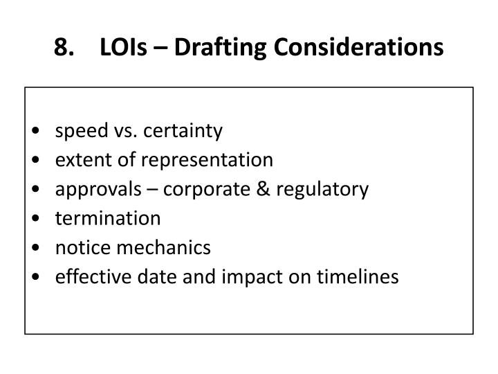 LOIs – Drafting Considerations