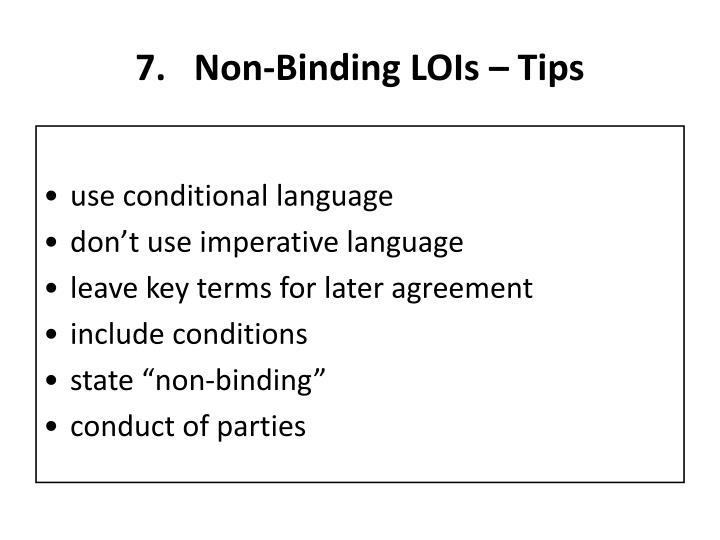 Non-Binding LOIs – Tips