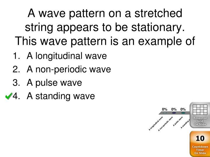 A wave pattern on a stretched string appears to be stationary.  This wave pattern is an example of