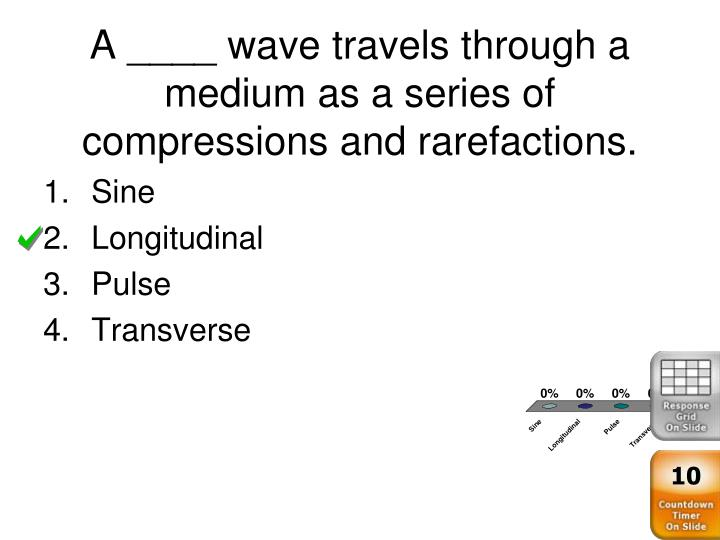 A ____ wave travels through a medium as a series of compressions and rarefactions.