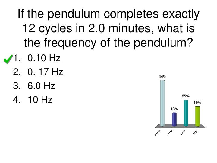If the pendulum completes exactly 12 cycles in 2.0 minutes, what is the frequency of the pendulum?