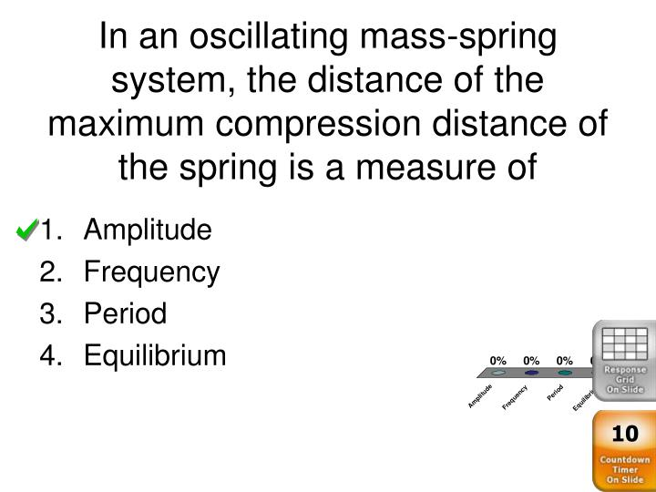 In an oscillating mass-spring system, the distance of the maximum compression distance of the spring is a measure of