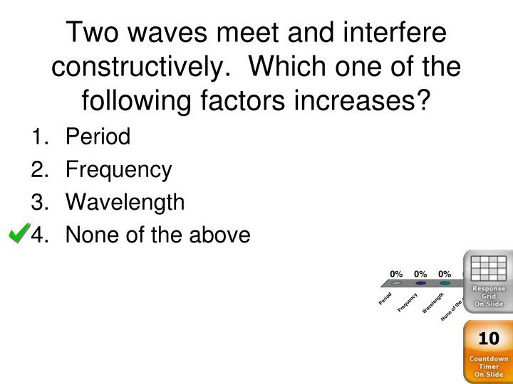 Two waves meet and interfere constructively.  Which one of the following factors increases?