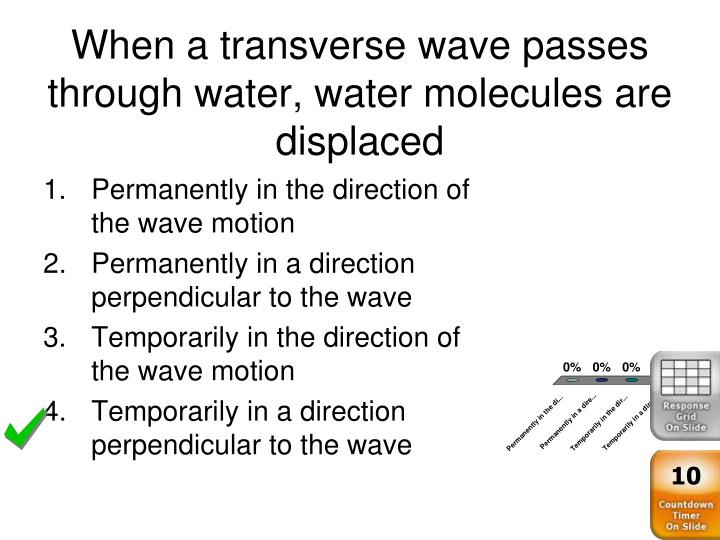 When a transverse wave passes through water, water molecules are displaced
