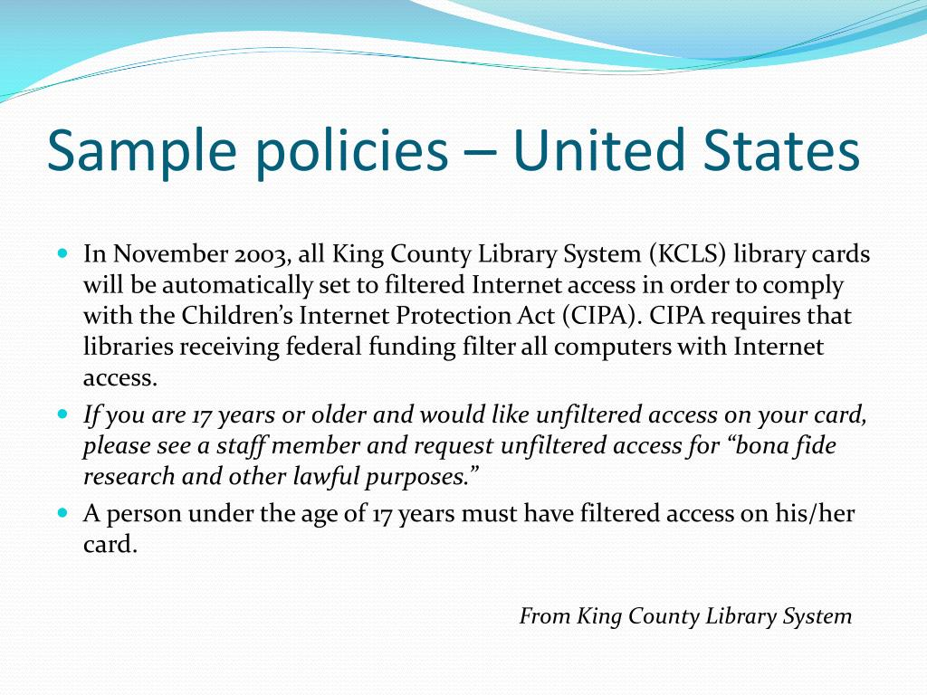 Sample policies – United States
