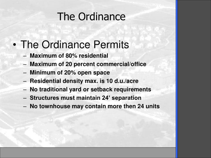 The Ordinance Permits