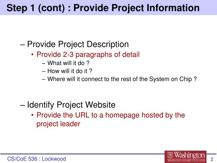 Step 1 cont provide project information
