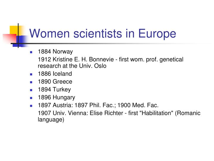 Women scientists in Europe