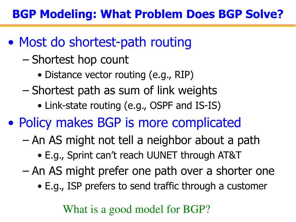 BGP Modeling: What Problem Does BGP Solve?