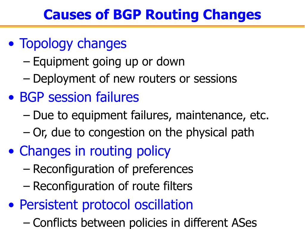 Causes of BGP Routing Changes