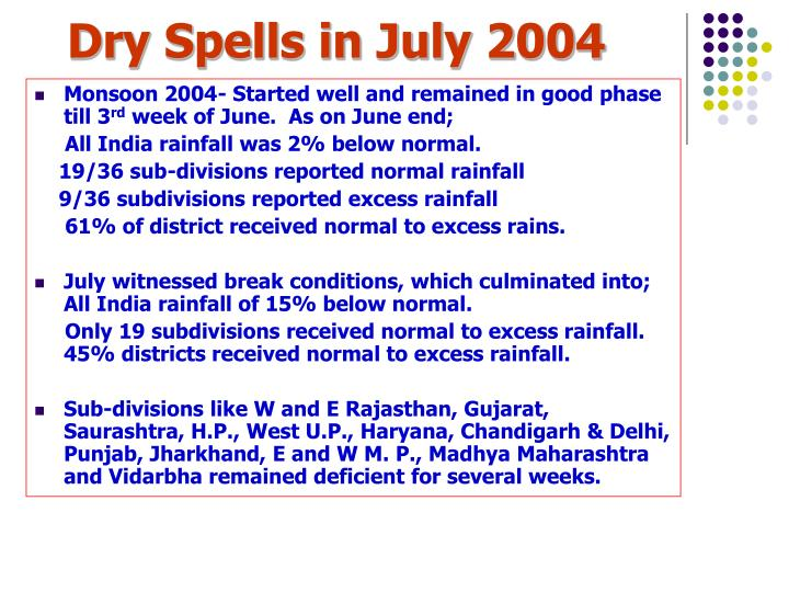 Dry Spells in July 2004