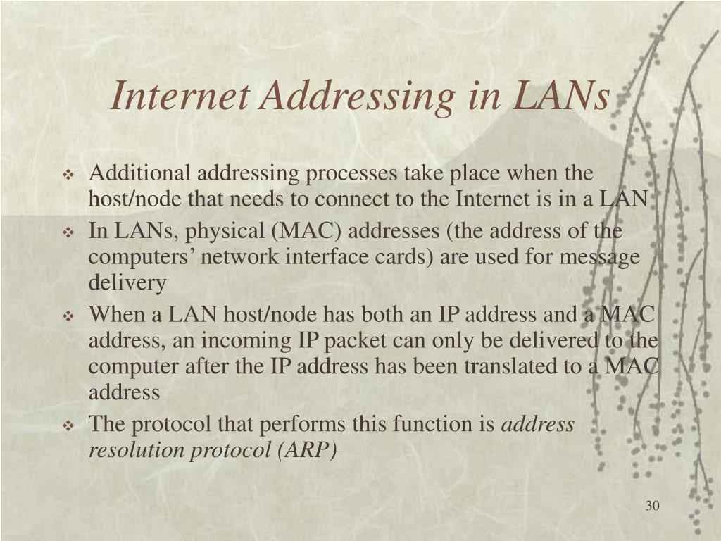 Internet Addressing in LANs