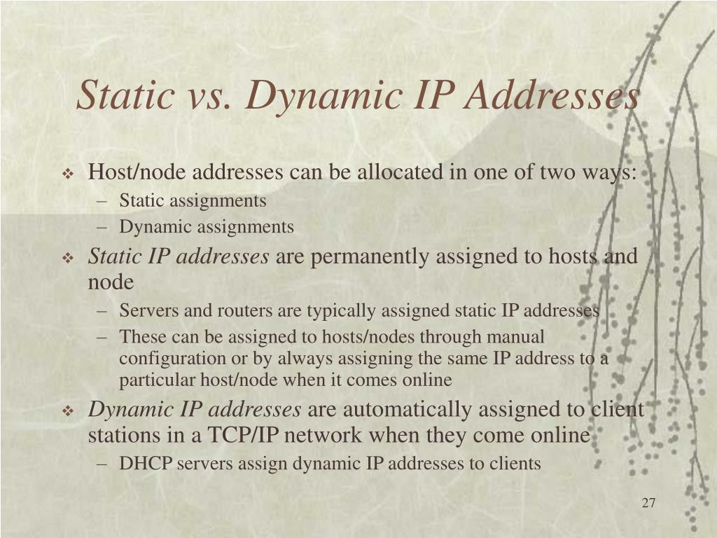 Static vs. Dynamic IP Addresses