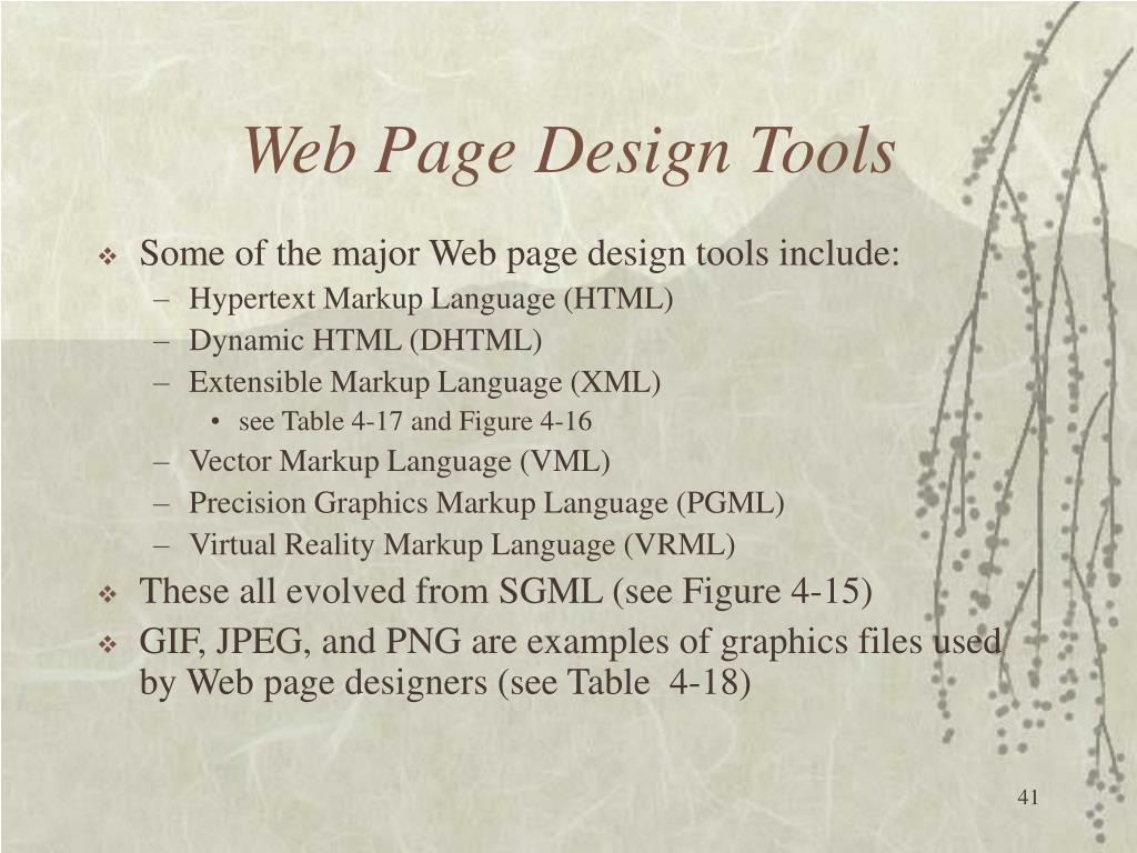 Web Page Design Tools