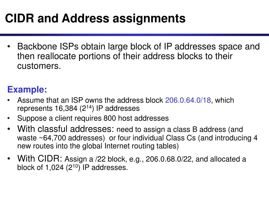 CIDR and Address assignments