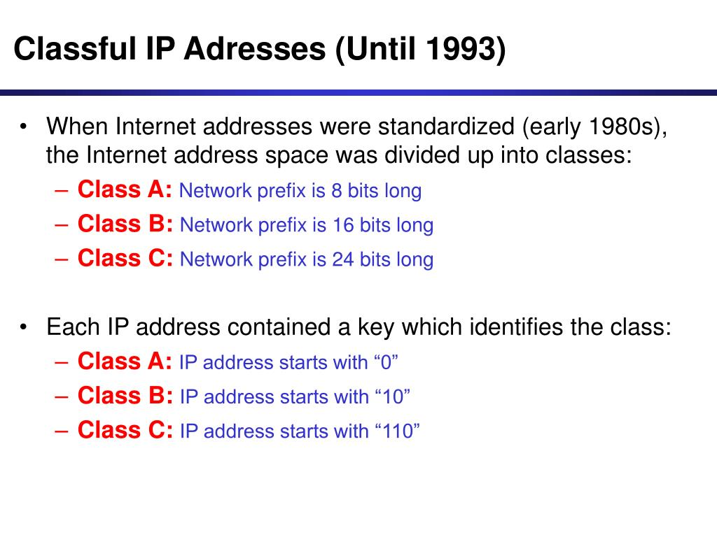 Classful IP Adresses (Until 1993)