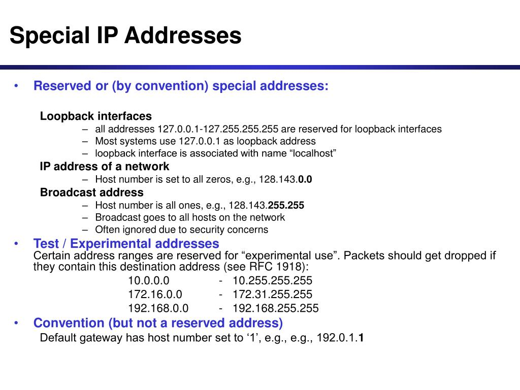Special IP Addresses