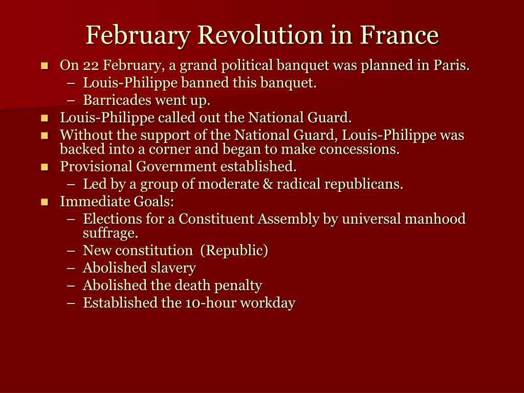 On 22 February, a grand political banquet was planned in Paris.