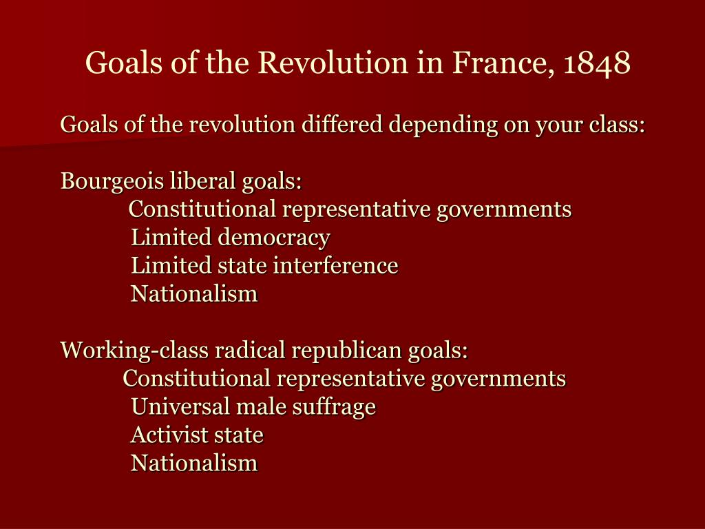 Goals of the Revolution in France, 1848