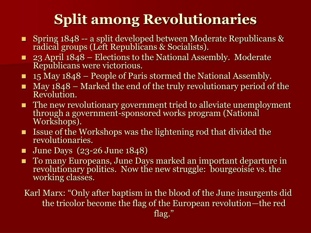 Split among Revolutionaries